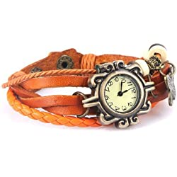 Gleader Retro Male Female Wrist Watch Bracelet Artificial Leather Strap Knit Wrap Around Quartz + Butterfly Pendant (Orange)