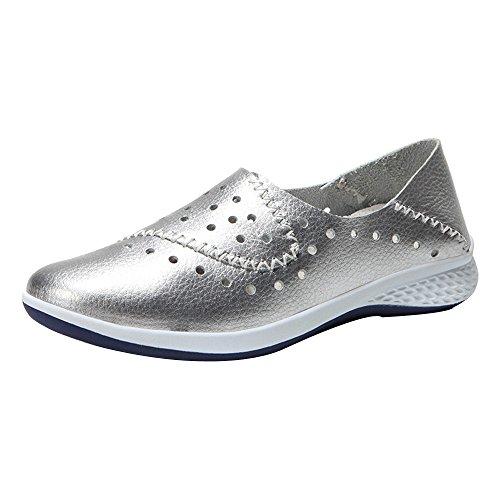 Dorical Sneaker Damen Sandaletten Sandale Sandalen Pantoffeln Sommerschuhe Rutschfest Halbschuhe/Frauen Hohl Schuhe Leichte Sandalen Bequem Atmungsaktiv Freizeitschuhe(Silber,42 EU)