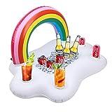 Kyerivs Aufblasbarer Getränkehalter Regenbogen-Wolke Getränkehalter Schwimmende Coasters für Pool Party Wasser-Spaß Strand Spielzeug mit 4 Getränk Löchern &1 rechteckiger Nut Erwachsene & Kinder