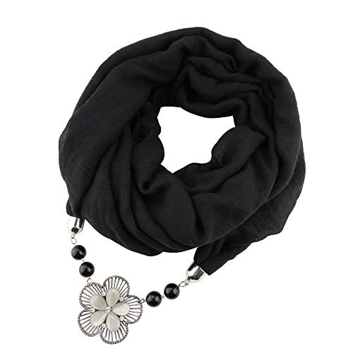 Polyester feste Legierung Blumen Anhänger Schals Turban ethnischen Frauen Schal Halskette Schmuck Katzenauge Anhänger Kragen verlängern Schal,Black -