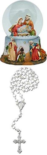 Schneekugel mit Heiliger Familie und Spieluhr, Höhe 15cm mit Rosenkranz weiss (Schneekugel Krippenfiguren)
