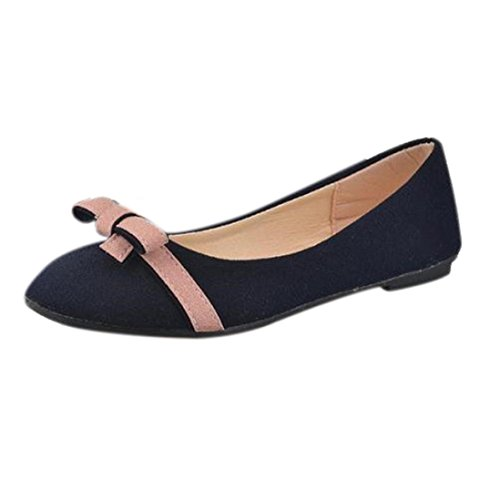 Transer ® Mode Bowknot unique chaussures loisirs chaussures plates pour femmes enceintes de travail élèves Bleu
