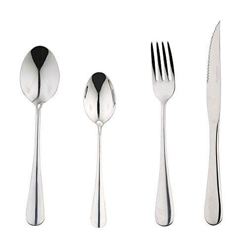 Service de Table en Acier Inoxydable pour 6 Personnes Comprenant 1 Couteau, 1 Fourchette, 1 cuillère, 1 cuillère à café, 6 Couverts