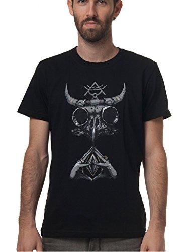 Camiseta con calavera de búho Viking - Ropa gótica de diseño exclusivo en algodón 100% para hombre - Talla S, gris humo