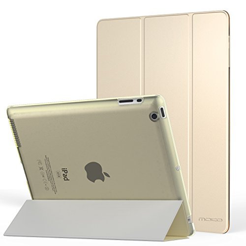 MoKo Hülle für iPad 2 / 3 / 4 - PU Leder Tasche Schale Smart Case mit Translucent Rücken Deckel, mit Auto Schlaf/Wach Funktion und Standfunktion für Apple iPad 2 - Gb Ipad Generation 4. 64