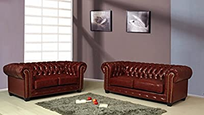 Chesterfield Ox Blood Red Leather Sofa Suite 3+2 Seater Brand New 12 Months warranty FREE DELIVERY from Furnitureinstore