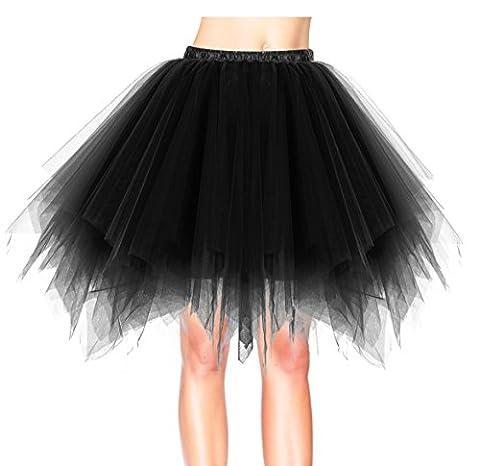 Dresstells Damen Tutu Unterkleid Kurz Ballett Tanzkleid Ballklei Abendkleid Gelegenheit Zubehör Black