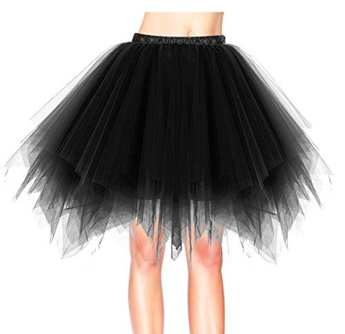 Dresstells Damen Tutu Unterkleid Kurz Ballett Tanzkleid Ballklei Abendkleid Gelegenheit Zubehör Black (Tutu Schwarz)
