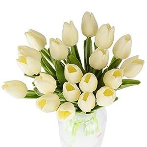 20pcs Tulipanes Artificiales de Toque Real Flores Artificiales Tulipanes Largos Latex para Decoración Jarrones Hogar…