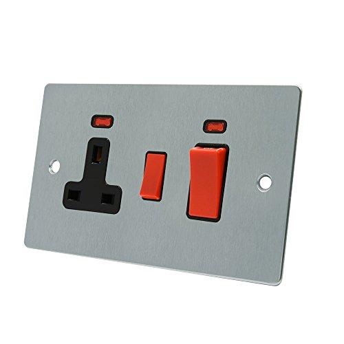 aet fsccc2nbl 45A (3Pines, Cromo Satinado Soporte de Cocina Unidad de Control w/neón Negro Insertar y Cocina Interruptor con Indicadores de neón 13A Interruptor Enchufe