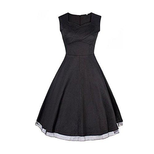 Meijunter Les années 1950 Femmes Classique Hepburn Vintage Style Manches Party Retro Robe Trapèze Black