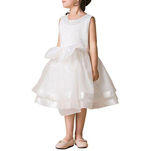 Perlen Knielangen Rock (Mädchenkleid Festlich Kinder Prinzessin Partykleid Hochzeit Chiffon Festzug Brautjungfer Kleider (5-6 Jahre, weiß))