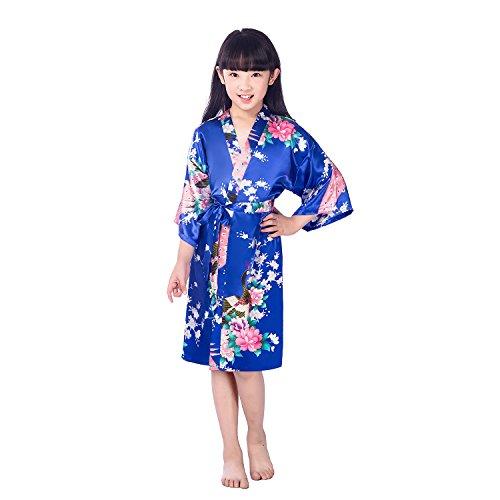 CuteOn Kinder Mädchen Kimono Robe Satin Seide Weiche Blossom Peacock Bademantel Nachtwäsche für Kinder Brautkleid Kleid RoyalBlau Größe 14 - (Höhe 145-160cm) (Blossom Bademantel)