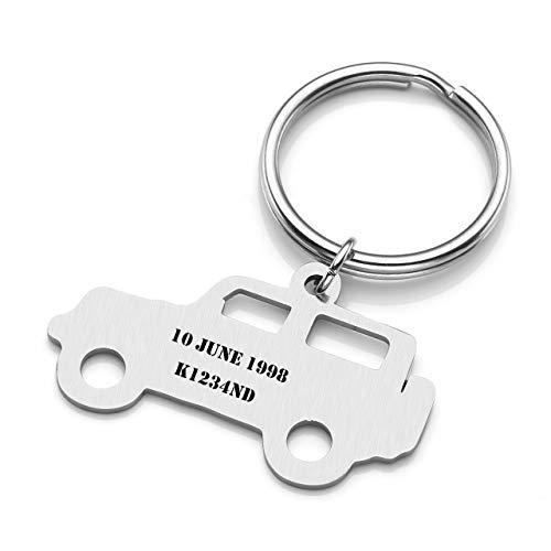 Zysta portachiavi in acciaio con ciondolo carino personalizzabile argento, porta chiavi accessori per donna uomo unisex-jeep diy