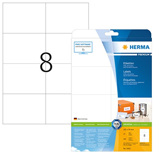 Herma 5062 Universal Etiketten (105 x 74 mm) weiß, 200 Aufkleber, 25 Blatt DIN A4 Premium Papier matt, bedruckbar, selbstklebend