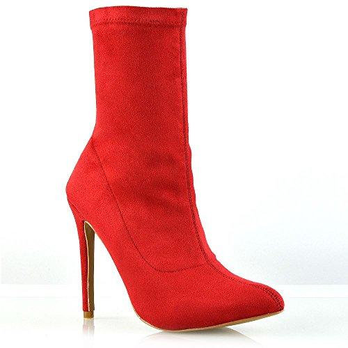 Essex glam donna tacco alto rosso finto scamosciato stivali le signore tacco stiletto tirare in su stivaletti eu 37