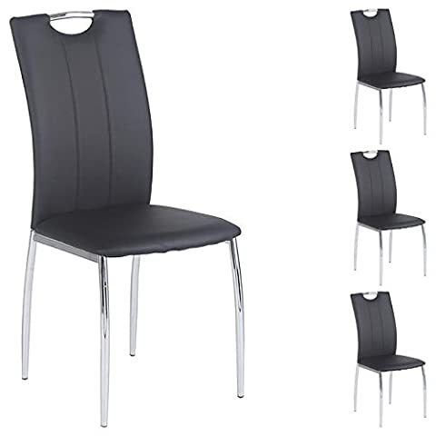 Lot de 4 chaises de salle à manger APOLLO piètement chromé revêtement synthétique noir