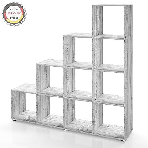 Treppenregal 6 Fächer in Grau Beton - Raumteiler Stufenregal Bücherregal