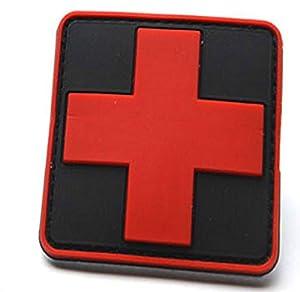 Medic Croix-Rouge Noir Airsoft PVC Morale Patch