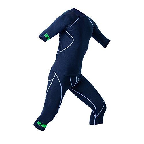 ems hose EMS Kleidung Unisex als Set (Shirt+Hose) | von it's me | speziell Wasserabsorbierend für optimale Impulsweiterleitung | super weich | Passt Sich der Form Deines Körpers an | zweite Haut Gefühl | Schadstofffrei (schwarz, XL)