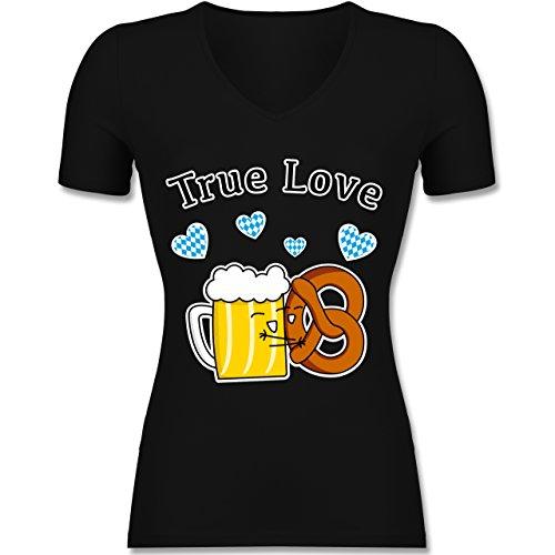 Oktoberfest Damen - True Love- Bier und Breze - Tailliertes T-Shirt mit V-Ausschnitt für Frauen Schwarz