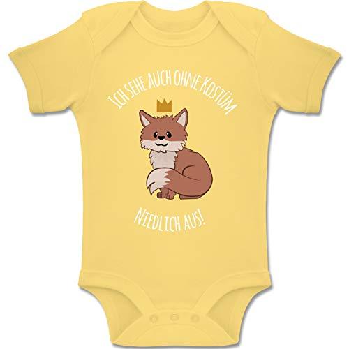 Shirtracer Karneval und Fasching Baby - Ich Sehe auch ohne Kostüm niedlich aus Fuchs - 6-12 Monate - Hellgelb - BZ10 - Baby Body Kurzarm Jungen Mädchen (Süsse Fuchs Kostüm Kind)