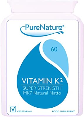 Vitamin K2 MK-7 Derived from Natural Natto 100mcg Highest Strength and Quality UK manufactured to Premium standards 60 Slow Release Vegetarian Capsules non-GMO, organic, allergen-free, and a stable fermentation process|100% Quality Assured Money Back Guar