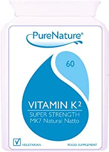 Vitamin K2 MK-7 Derived from Natural Natto 100mcg Highest Strength and Quality UK manufactured to Premium standards 60 Slow Release Vegetarian Capsules non-GMO, organic, allergen-free, and a stable fermentation process|100% Quality Assured Money Back Guarantee| FREE UK DELIVERY