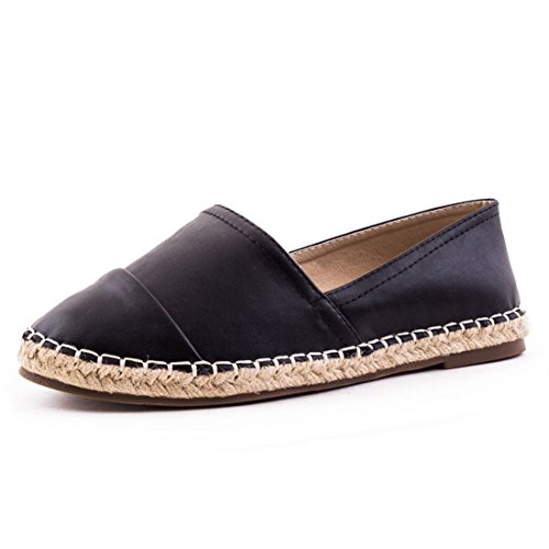 Damen Espadrilles Low Top Sommer Slipper Sneaker Metallic Lederoptik Schwarz 37