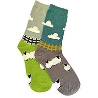 Purple Possum® 2 Pair Pack of Socks Ladies Sheep Teal Blue lime Green Grey Soft Bamboo Cotton Blend Gift Idea