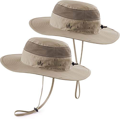 The Friendly Swede 2 Stück Outdoor Buschhüte mit Kinnband - Ideal auch als Safarihut, Sonnenhut, Gartenhut, Campinghut für Damen, Herren, Kinder (Khaki)
