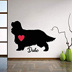 Wohnzimmer Wandaufkleber Cavalier King Charles Spaniel Aufkleber, Personalisiert Mit Hundenamen Wandaufkleber Hund Wanddekoration Für Wohnzimmer L137 42X62Cm