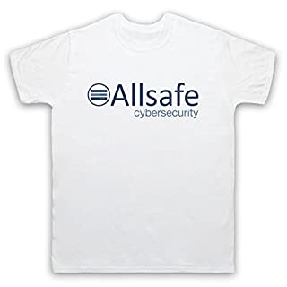 Mr Robot Allsafe Logo Mens T-Shirt, White, Small
