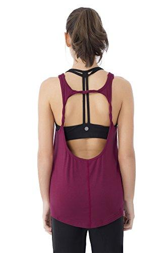 Queenie Donna Morbida Backless Camicetta Senza Maniche Yoga Camicie Gilet Canotte Rosso