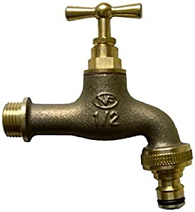 Boutt 2139123 R15BA - Rubinetto da giardino in ottone, con presa rubinetto automatica, 15 x 21