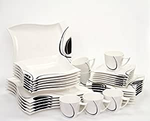 kombiservice scarlett 60 teilig eckig porzellan f r 12 personen wei mit schwarzem dekor. Black Bedroom Furniture Sets. Home Design Ideas