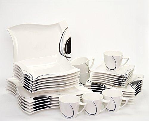 Kombiservice Scarlett 60-teilig eckig Porzellan für 12 Personen weiß mit schwarzem Dekor...