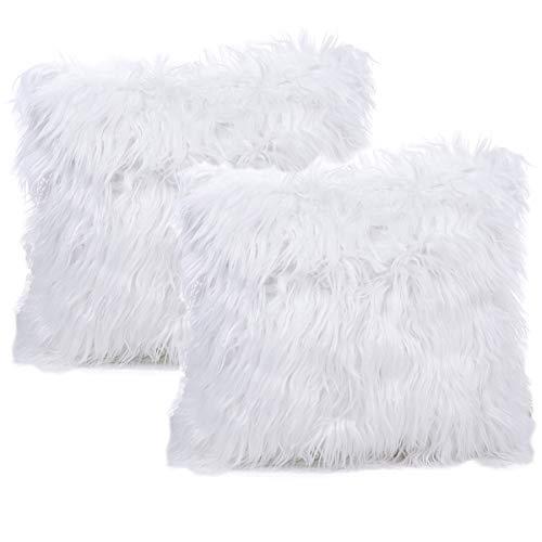 JOTOM Kissenbezug,Taille Plüsch Kissenbezüge Platz Kissenbezug, Kissenhülle für Autositz Home Sofa Decor 40x40 cm, 2er Set (Weiß) -