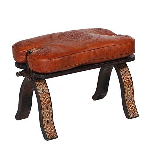 Casa Moro Marokkanischer Kamelhocker orientalischer Hocker Hani Arab mit Leder Sitzkissen & Zedernholzgestell | Kunsthandwerk aus Marrakesch | MO4156