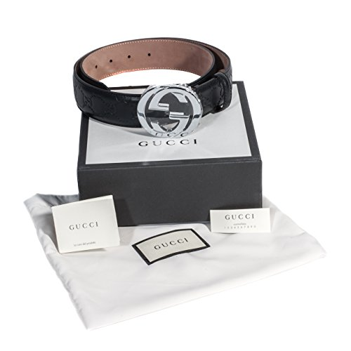 Gucci Black Logo Belt With Silver Buckle