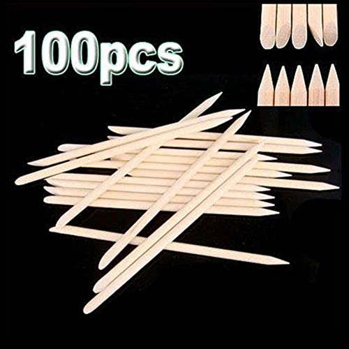 100 Pièces Orange Wood Sticks Nail Art Cuticule Stick pour Pusher Remover Manucure Pédicure Double Face Bois Sticks - Bois