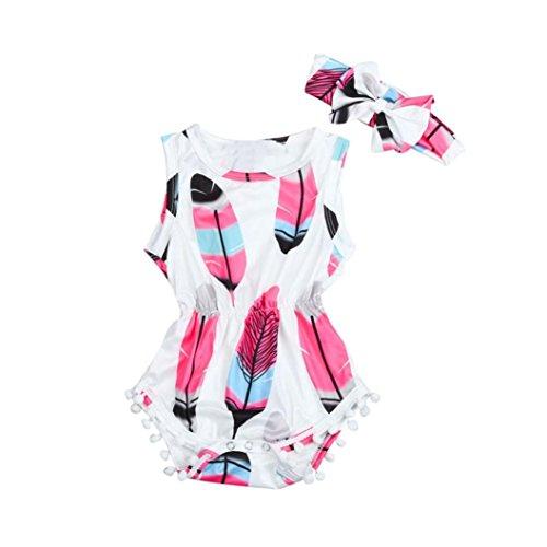 Säugling Baby 2 Stück Strampler Set Overall+Stirnband, Sommerkleidung Hirolan Kinder Feder Drucken Spielanzug Mädchen Ärmellos neugeborene kleidung Ausgefallene Babykleidung (100, Weiß) (Ausgefallene Baby-mädchen-kleidung)