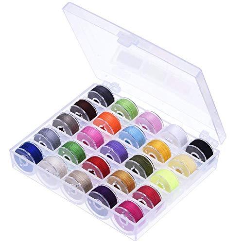arn in Spulenbox 50 Farben Nähgarn Polyester mit 50 Nähmaschine Spulen, Nähmaschinenspulen für Brother Babylock Janome Kenmore Singer Schere ()