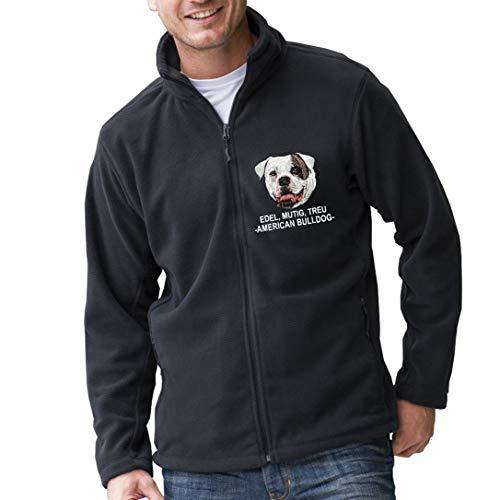 Siviwonder Unisex Fleecejacke American Bulldog 3 Hunde Stickerei schwarz L -