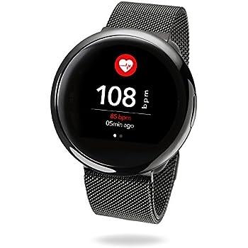 MyKronoz ZeRound2HR Elite - Smartwatch con Monitor de Ritmo cardiaco, micrófono Incorporado y Altavoz, Color Negro Brillante