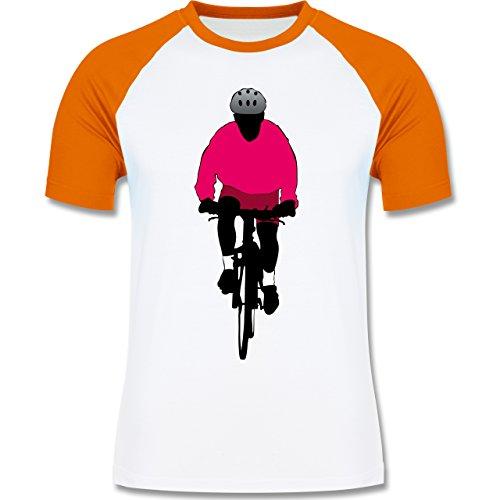 Radsport - Mountainbike Fahrrad - zweifarbiges Baseballshirt für Männer Weiß/Orange