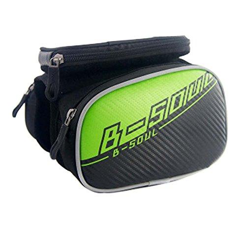 UGUAX Tube Tasche 14cm Bike Phone Bag Beam Fahrrad Tasche Fahrrad Rahmen Rack Tube Fahrrad Tasche Fahrrad Tasche, Grün - Tote Sattel