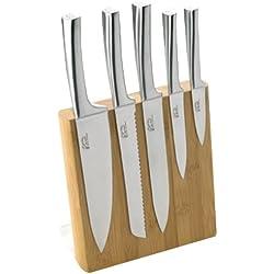 Pradel Jean Dubost 18521 Bloc Météor en Bambou Véritable + 5 Couteaux de Cusine Inox
