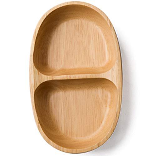 TAMUME Segmentario Plato de Madera para Servir, Tazón de Postre con 2 Compartimentos para Servir Platos, Ovalado Cuencos para Aperitivos y Salsas (2 Salsas)
