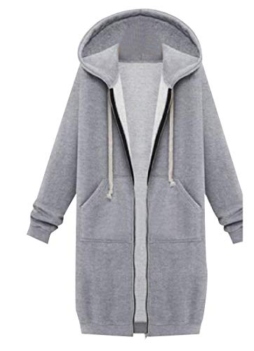 CuteRose Womens Long Sleeve Relaxed-Fit Hooded Cardigan Trench Coat Grey L